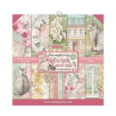 """PRÉCOMMANDE Stamperia - Ensemble de papier «Orchids & Cats» 8"""" x 8""""  10 feuilles"""