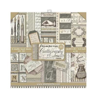 """PRÉCOMMANDE Stamperia - Ensemble de papier «Calligraphy» 8"""" x 8""""  10 feuilles"""
