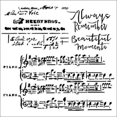 """13Arts - Stencil «Always the music» 6"""" X 6"""""""