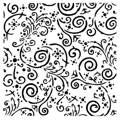 """13Arts - Stencil «Swirls» 6"""" X 6"""""""