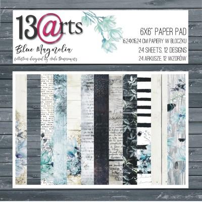 """13 Arts - Bloc de papier «Blue Magnolia» 24 feuilles recto  6"""" X 6"""""""