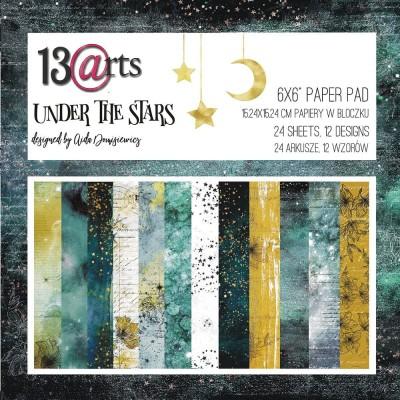 """13 Arts - Bloc de papier «Under the stars»  24 feuilles recto  6"""" X 6"""""""