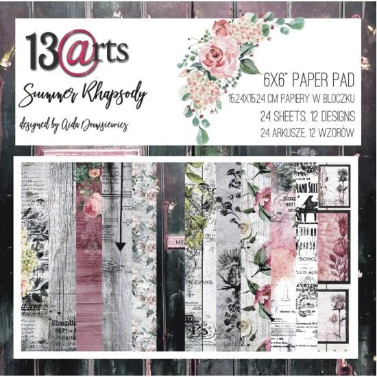 "13 Arts - Bloc de papier «Summer Rhapsody»  24 feuilles recto  6"" X 6"""