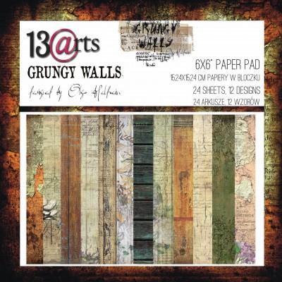 """13 Arts - Bloc de papier «Grungy Walls»  24 feuilles recto  6"""" X 6"""""""