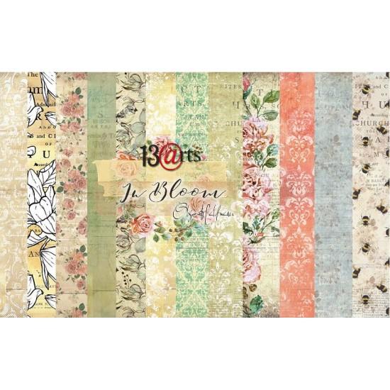 "13 Arts - Collection de papier  «In Bloom» 6 feuilles recto verso  12"" X 12"""