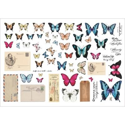 13 Arts - Éphéméra «Grungy Walls- Butterflies» 60 pcs