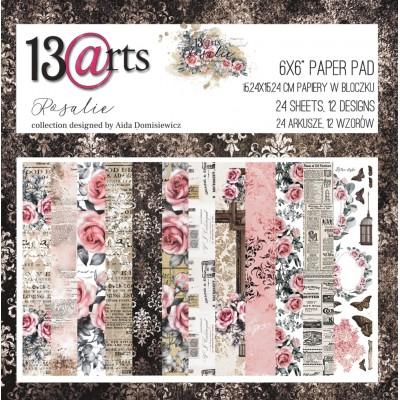 """13 Arts - Bloc de papier «Rosalie»  24 feuilles recto  6"""" X 6"""""""