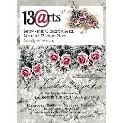"""13 Arts - Bloc de papier «Rosalie»  24 feuilles recto  4"""" X 6"""""""