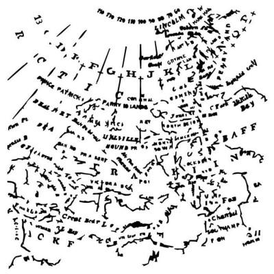 """13Arts - Stencil «Map» 6"""" X 6"""""""