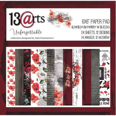 """13 Arts - Bloc de papier «Unforgettable»  24 feuilles recto  6"""" X 6"""""""