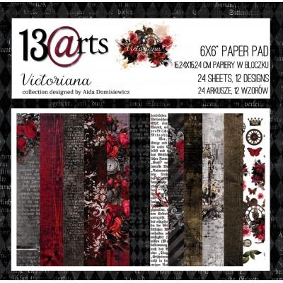 """13 Arts - Bloc de papier «Victoriana»  24 feuilles recto  6"""" X 6"""""""