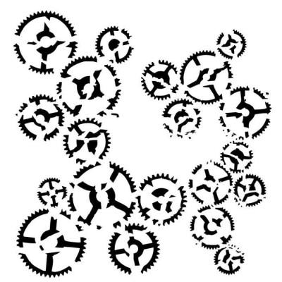 "13Arts - Stencil «Dance of gears» 6"" X 6"""