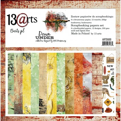 "13 Arts - Collection de papier  «Down under» 6 feuilles recto verso  12"" X 12"""