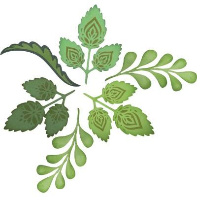Sizzix - Ensemble Dies et Estampe «Greenery & Flourish» 6 pièces