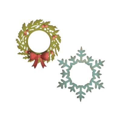 Tim Holtz Sizzix - Dies «Wreath and Snowflake» 4 pièces