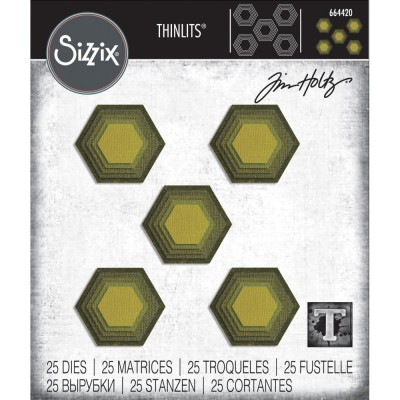 "Sizzix  - ""Stacked Tiles, Hexagons Framelits Dies By Tim Holtz 25/Pk"""