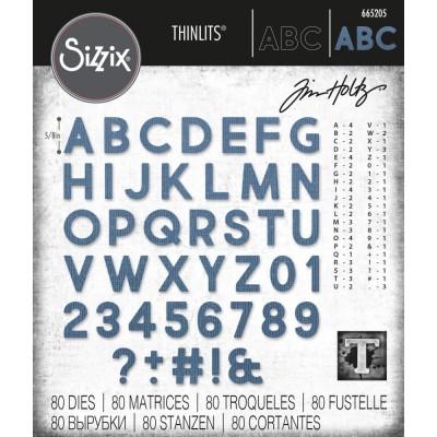Sizzix - Thinlits Dies de Tim Holtz «Alphanumeric Bold» 80 pcs
