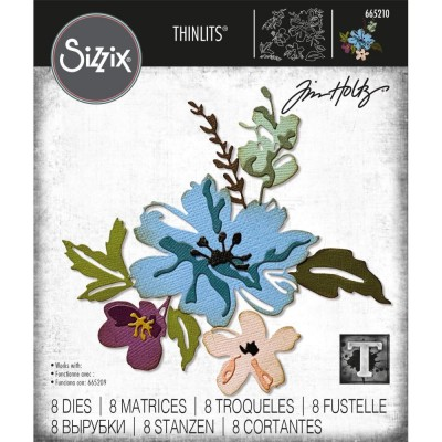 Sizzix - Thinlits Dies de Tim Holtz «Brushstroke Flowers #2»  8 matrices