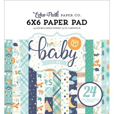 """Echo Park - Bloc de  papier double face «Hello Baby Boy»  6"""" X 6""""   24 feuilles"""