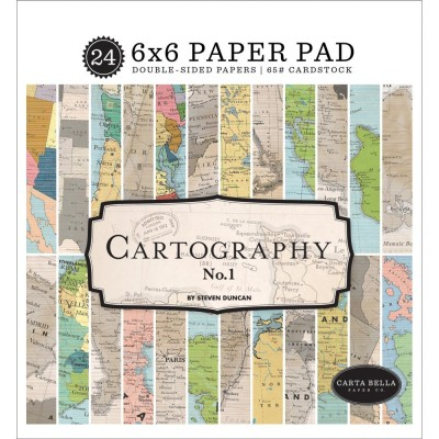 "Carta Bella - Bloc de  papier double face «Cartography »  6"" X 6""   24 feuilles"