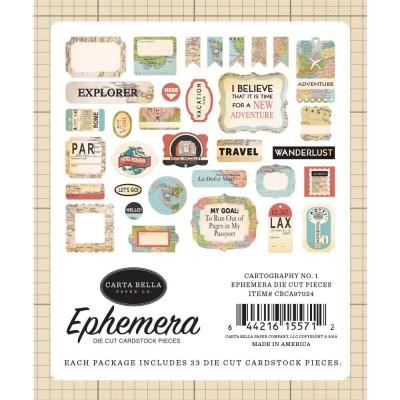 Carta Bella - Éphéméra «Cartography No. 1» ensemble 33pcs