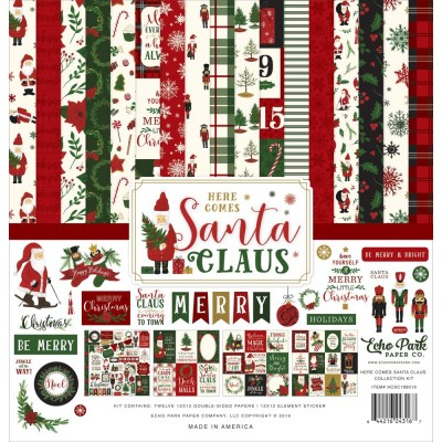 """Echo Park - Bloc de  papier double face «Here Comes Santa Claus»  12"""" X 12""""   12 feuilles"""