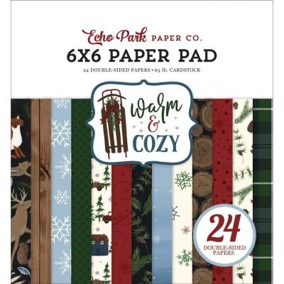 """Echo Park - Bloc de  papier double face «Warm & Cozy»  6"""" X 6""""   24 feuilles"""