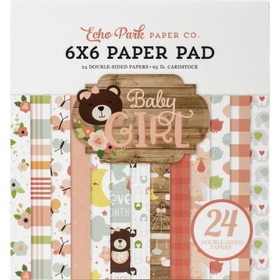 """Echo Park - Bloc de  papier double face «Baby Girl»  6"""" X 6""""   24 feuilles"""