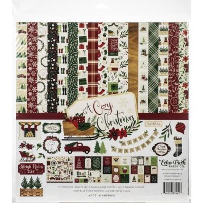 """Echo Park - Bloc de  papier double face «A cozy Christmas»  12"""" X 12""""   12 feuilles"""