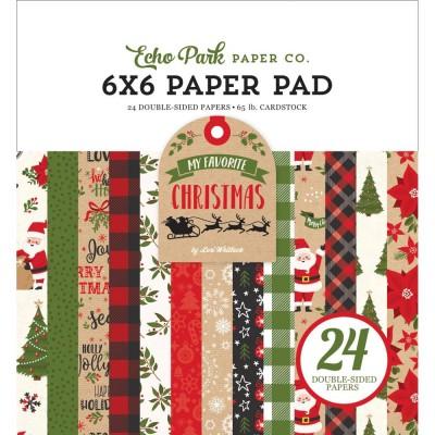"""LIQUIDATION-Echo Park - Bloc de  papier double face «My Favorite Christmas»  6"""" X 6""""   24 feuilles (Prix indiqué est réduit de 50%)"""