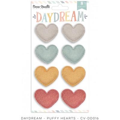 Cocoa Vanilla - Éphéméra en tissu  «Daydream Puffy Hearts» 8 pcs