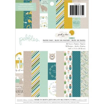 """American Craft - Ensemble de papier «Peek-A-Boo You Boy» 6"""" x 8""""  36 feuilles recto"""