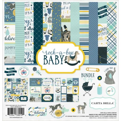 "Carta Bella - ensemble de papier recto-verso  «Rock-A-Bye Baby Boy» 12"" X 12"""
