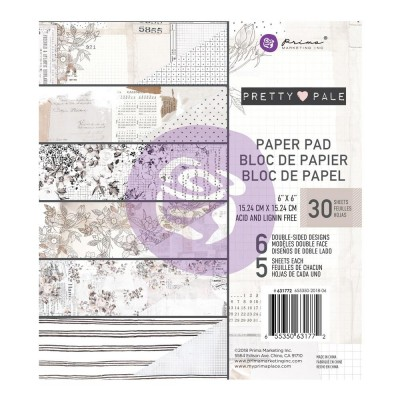 "Prima - Bloc de papier collection «Pretty Pale» 6"" X 6""  30 feuilles"