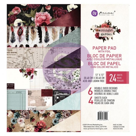 Prima Marketing - Papier collection «Midnight Garden»  24 feuilles de 12'' X 12''