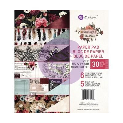 "Prima - Bloc de papier 6"" X 6"" double face «Midnight Garden» 30 feuilles"