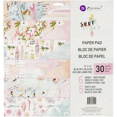 """Prima - Bloc de papier collection «Surfboard» 12"""" X 12""""  30 feuilles"""
