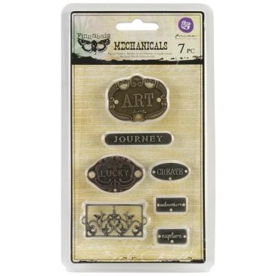 Finnabair - Embellissement «Plate & Label» métallique vintage 7 pièces