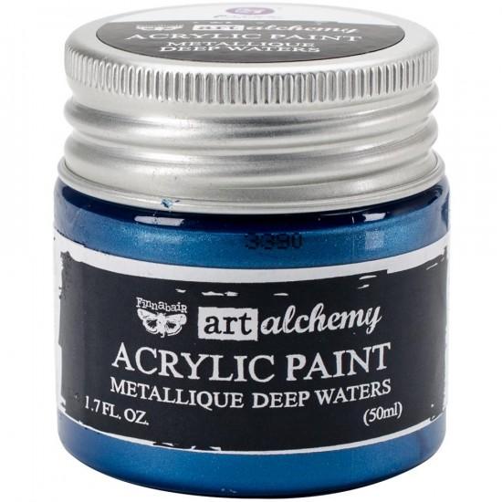 Finnabair Art Alchemy - Peinture acrylique «Métallique» couleur «Deep Waters»  1.7 oz