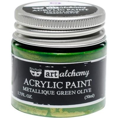 Finnabair Art Alchemy - Peinture acrylique «Métallique» couleur «Green Olive»  1.7 oz