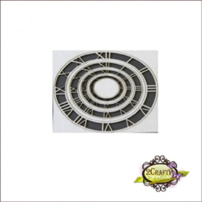 "2 Crafty - Chipboard «6"" Clock Frame» 3 pcs"