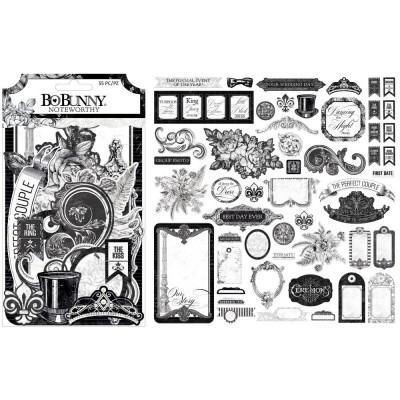 BoBunny - Éphéméra «Noteworthy» 55 pcs