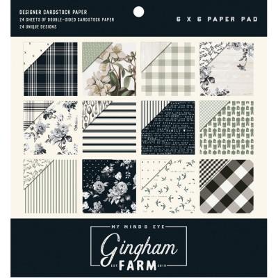 """My Mind's Eye - Bloc de papier 6"""" X 6"""" «Gingham Farm» 24 feuilles recto-verso"""