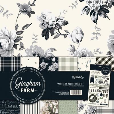 "My Mind's Eye - Ensemble de papier 12"" X 12"" «Gingham Farm»  6 feuilles recto-verso"