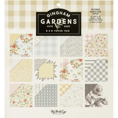 """My Mind's Eye- Papier 6"""" X 6""""  collection «Gingham Gardens» 24 pages recto-verso"""