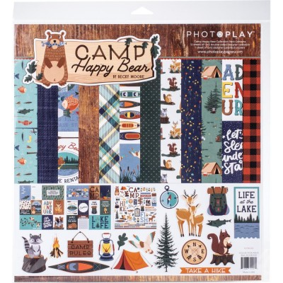 "PhotoPlay - Bloc de  papier double face «Happy Camper Bear» 12""X 12""   12 feuilles"