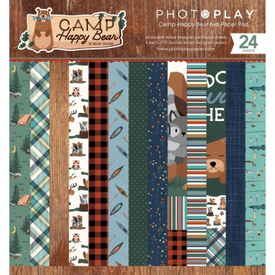 "PhotoPlay - Bloc de  papier double face «Camp Happy Bear»  6"" X 6""   24 feuilles"
