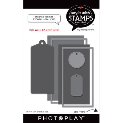 PRÉCOMMANDE PhotoPlay - Dies modèle «#6 Stitched» de la collection «Say It With Stamps» 5 pcs