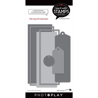 PhotoPlay - Dies modèle «#9 Scallop Tag» de la collection «Say It With Stamps» 5 pcs