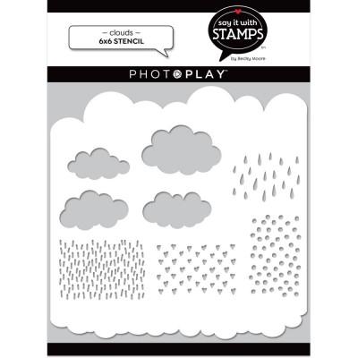 "PhotoPlay - Stencil «Clouds» 6"" X 6"""